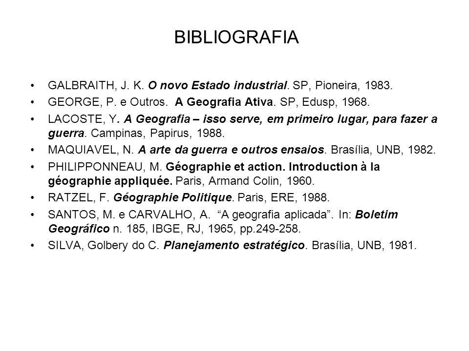 BIBLIOGRAFIA GALBRAITH, J. K. O novo Estado industrial. SP, Pioneira, 1983. GEORGE, P. e Outros. A Geografia Ativa. SP, Edusp, 1968.