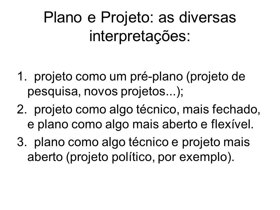 Plano e Projeto: as diversas interpretações: