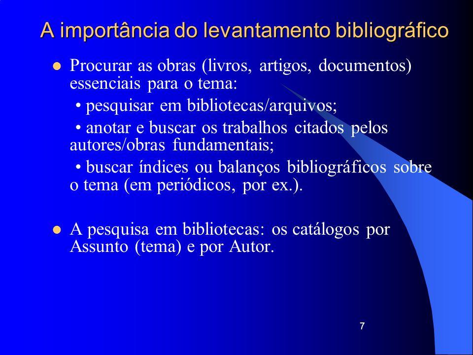 A importância do levantamento bibliográfico