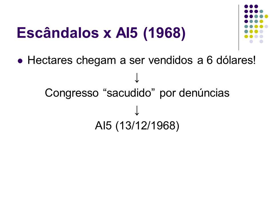 Escândalos x AI5 (1968) Hectares chegam a ser vendidos a 6 dólares! ↓