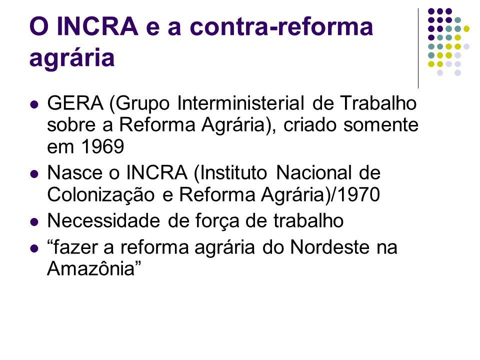 O INCRA e a contra-reforma agrária