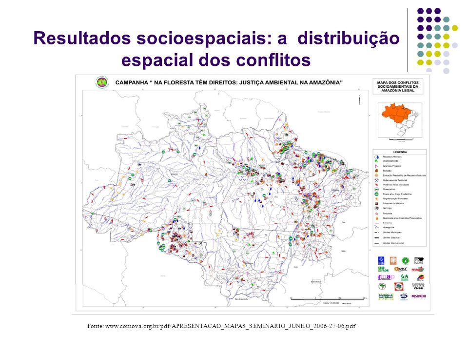 Resultados socioespaciais: a distribuição espacial dos conflitos