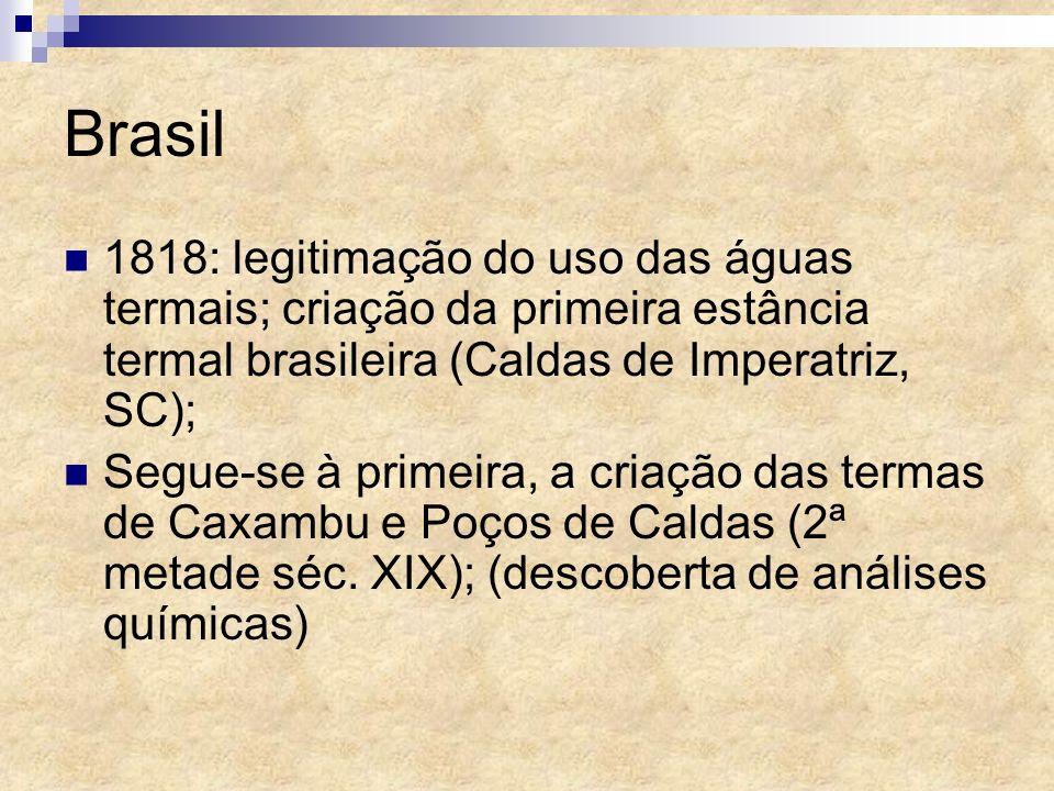 Brasil 1818: legitimação do uso das águas termais; criação da primeira estância termal brasileira (Caldas de Imperatriz, SC);
