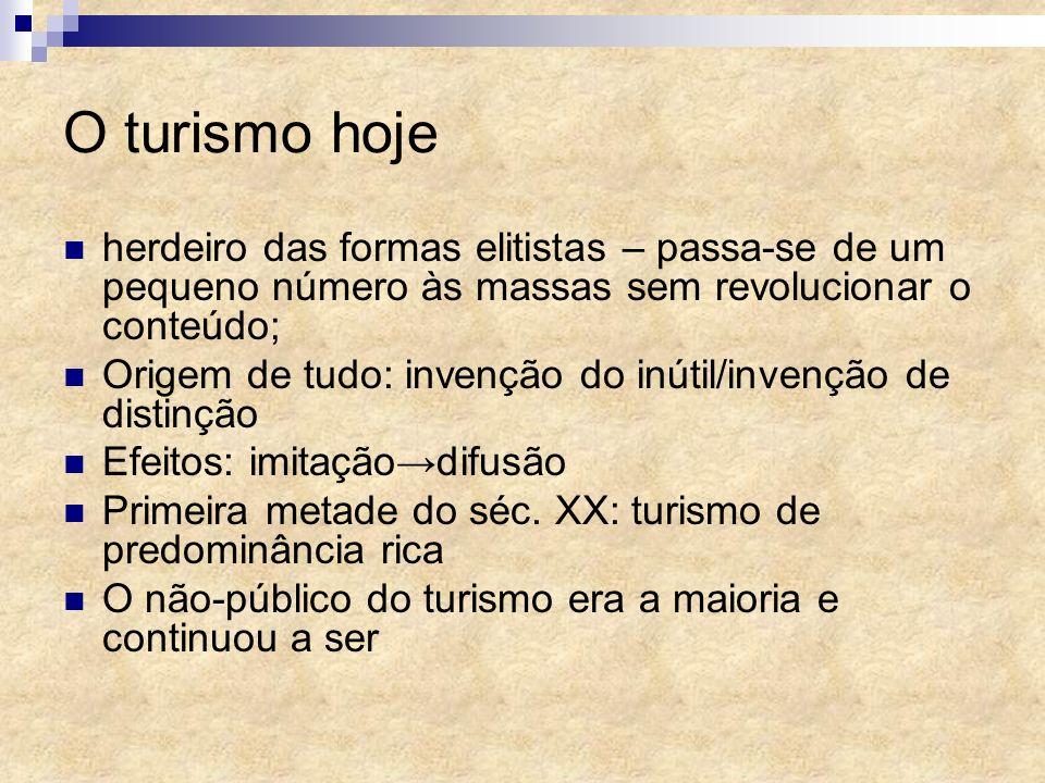 O turismo hoje herdeiro das formas elitistas – passa-se de um pequeno número às massas sem revolucionar o conteúdo;