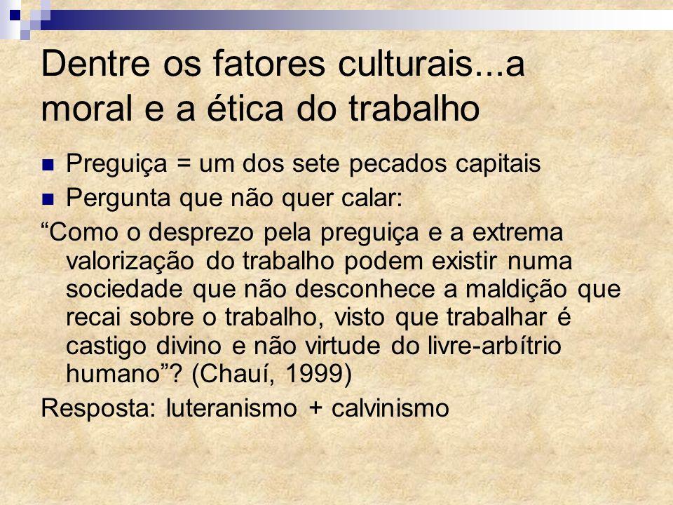 Dentre os fatores culturais...a moral e a ética do trabalho