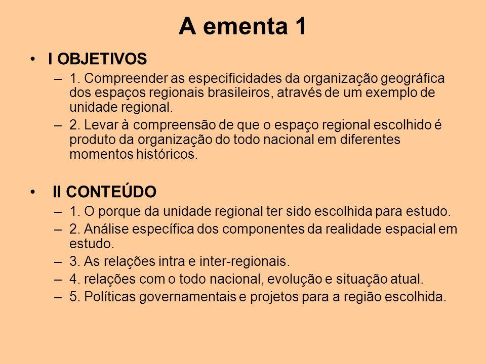A ementa 1 I OBJETIVOS II CONTEÚDO