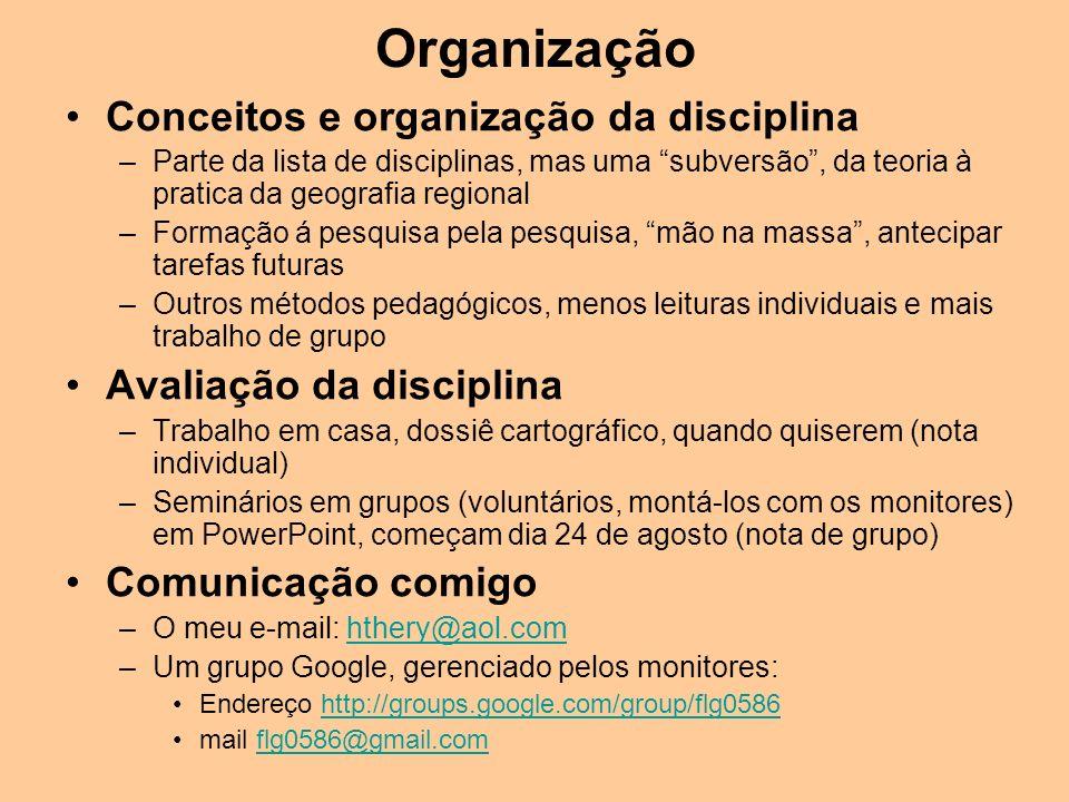 Organização Conceitos e organização da disciplina