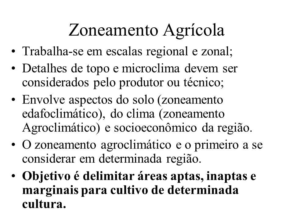 Zoneamento Agrícola Trabalha-se em escalas regional e zonal;