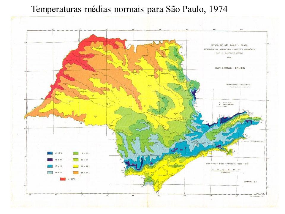 Temperaturas médias normais para São Paulo, 1974