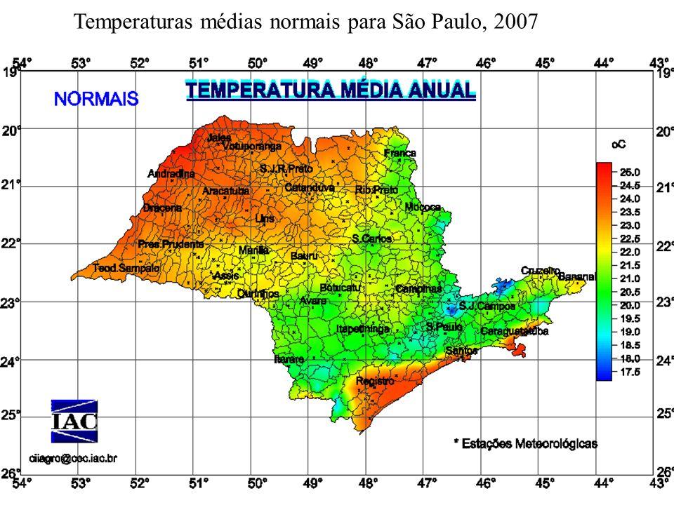 Temperaturas médias normais para São Paulo, 2007