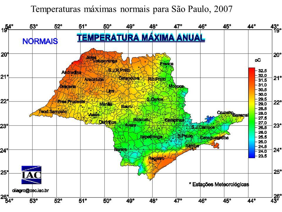 Temperaturas máximas normais para São Paulo, 2007