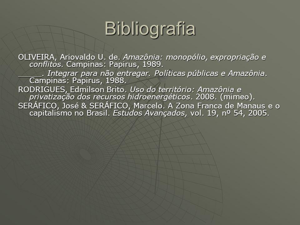 Bibliografia OLIVEIRA, Ariovaldo U. de. Amazônia: monopólio, expropriação e conflitos. Campinas: Papirus, 1989.
