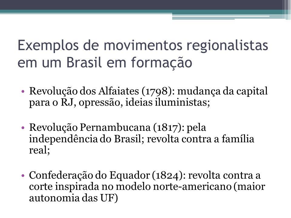 Exemplos de movimentos regionalistas em um Brasil em formação