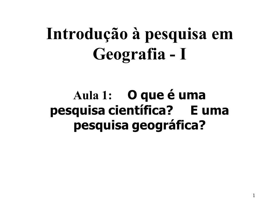 Introdução à pesquisa em Geografia - I