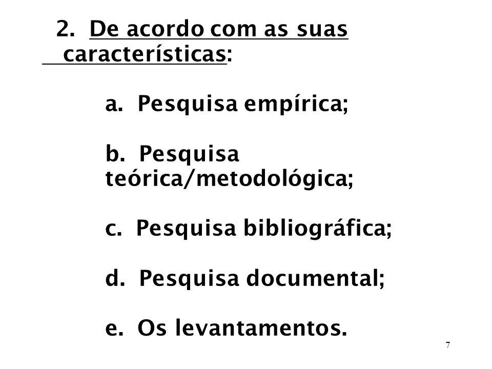 2. De acordo com as suas características: a. Pesquisa empírica; b