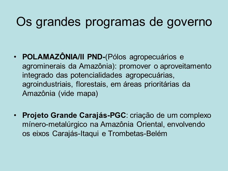 Os grandes programas de governo