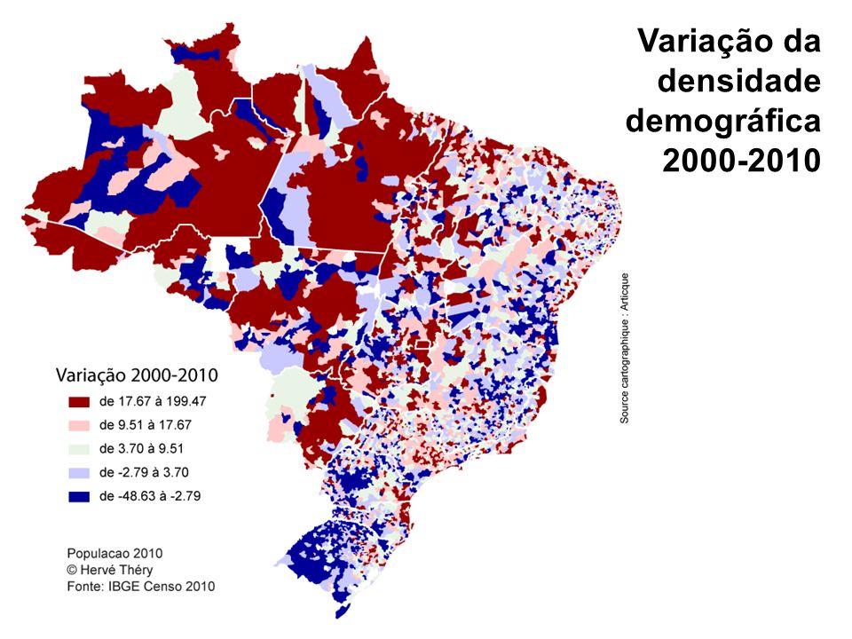 Variação da densidade demográfica