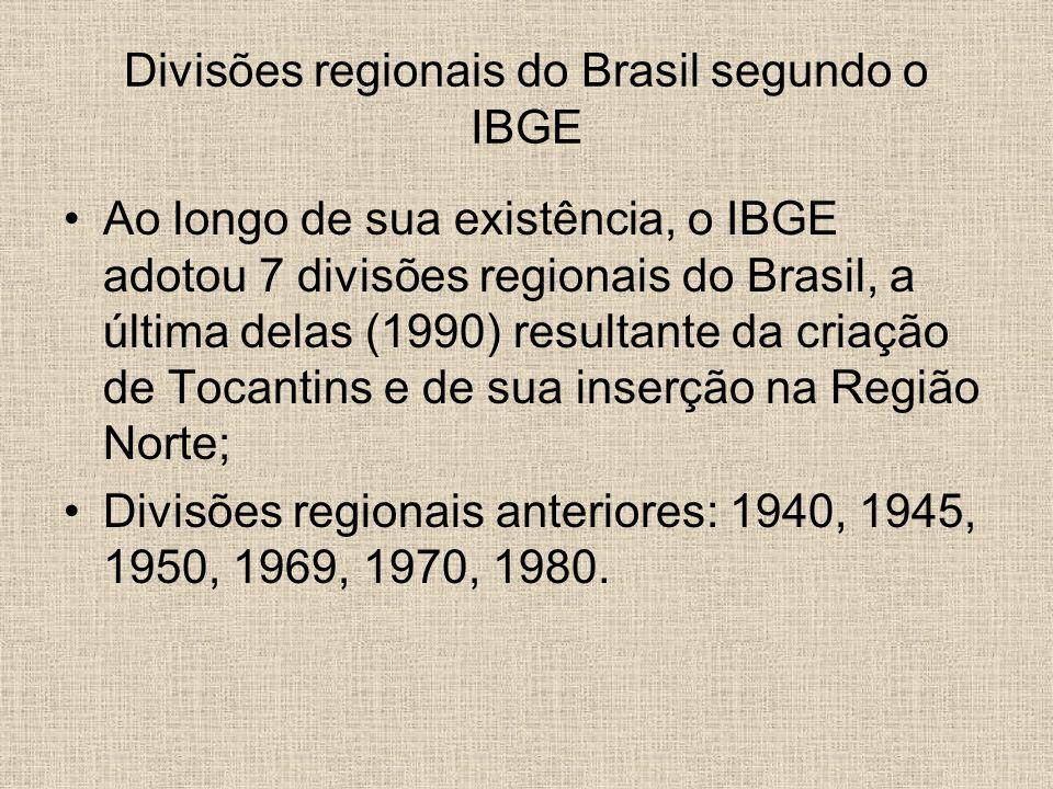 Divisões regionais do Brasil segundo o IBGE