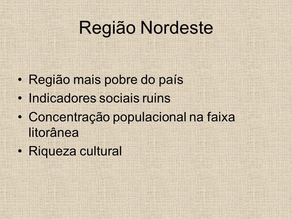 Região Nordeste Região mais pobre do país Indicadores sociais ruins