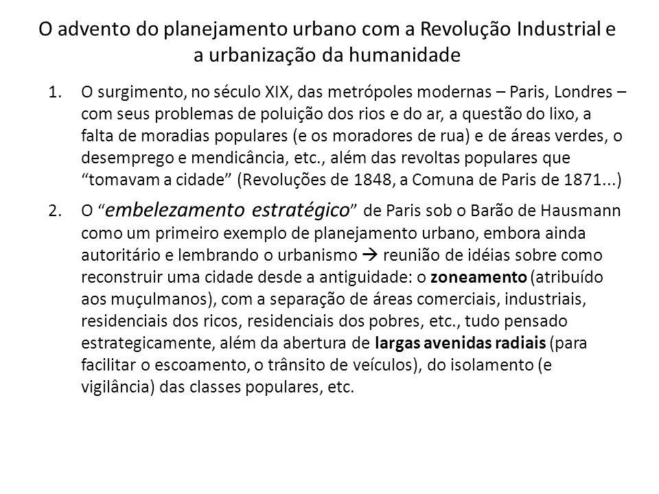 O advento do planejamento urbano com a Revolução Industrial e a urbanização da humanidade