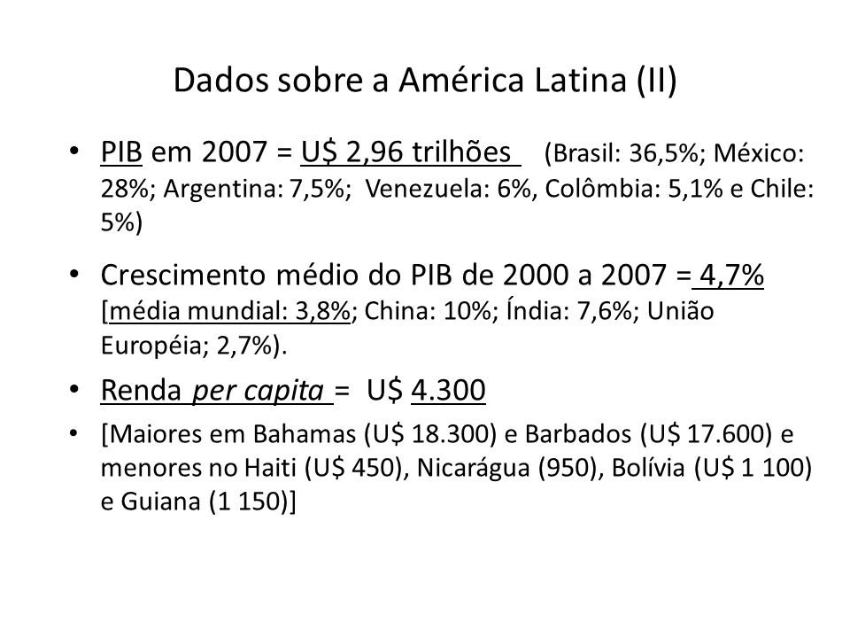 Dados sobre a América Latina (II)