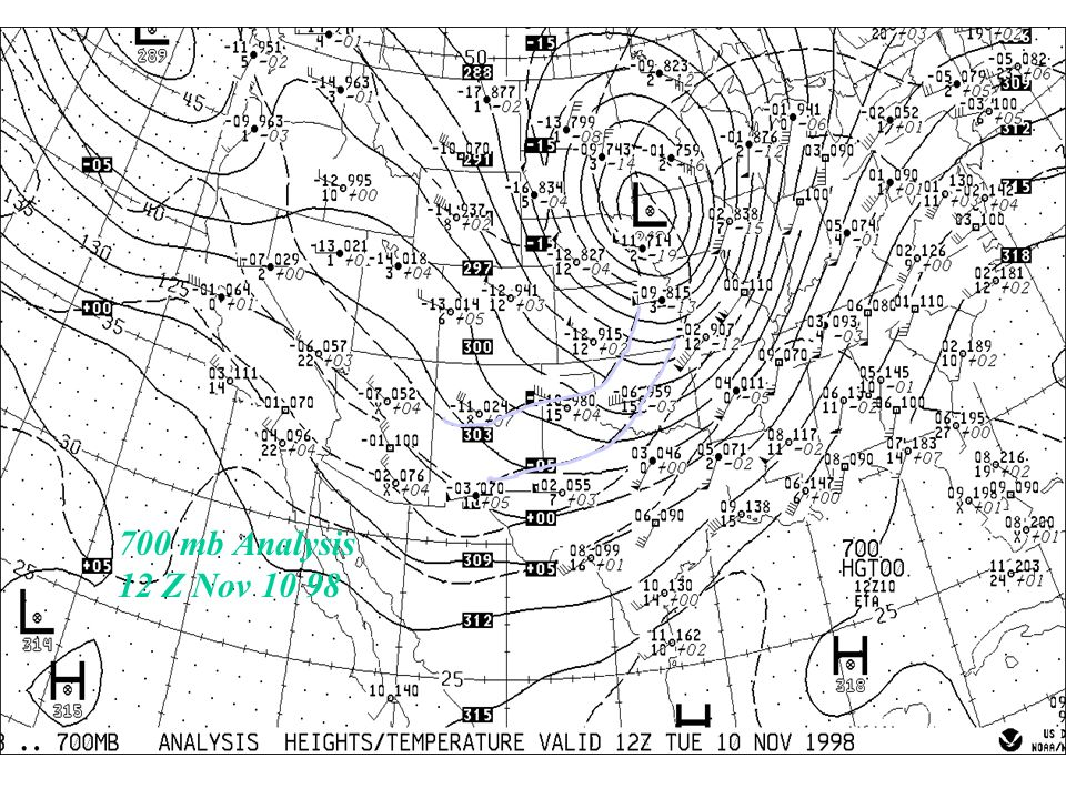 700 mb Analysis 12 Z Nov 10 98