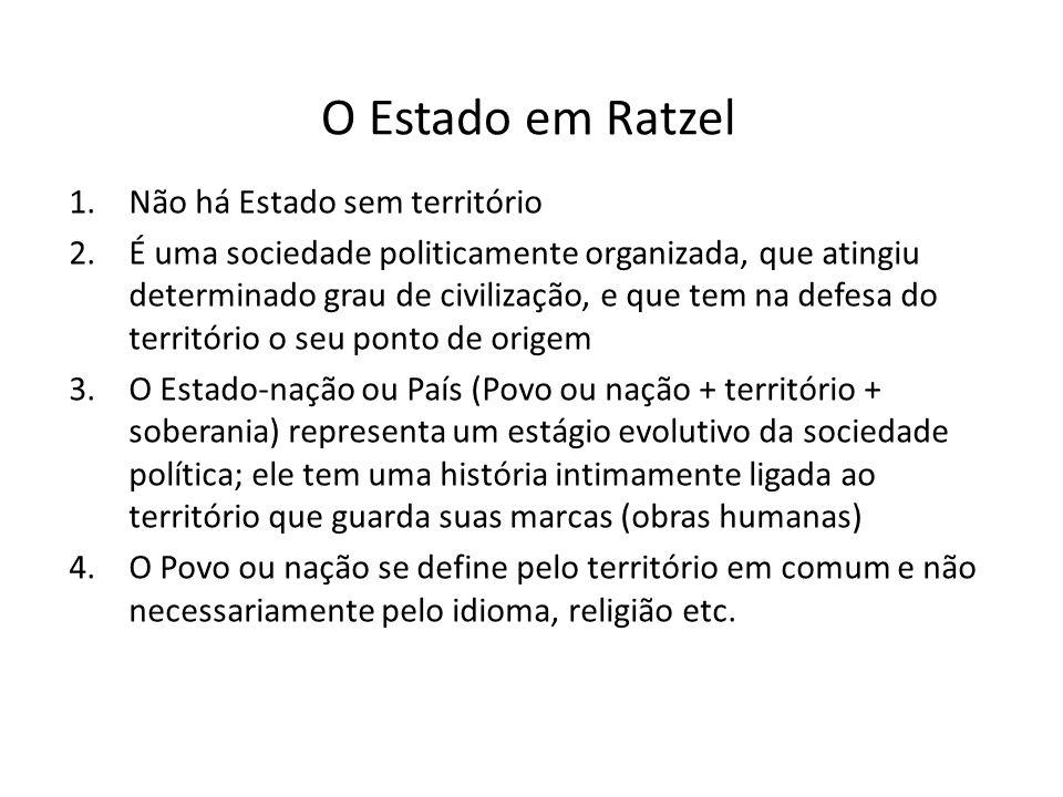 O Estado em Ratzel Não há Estado sem território