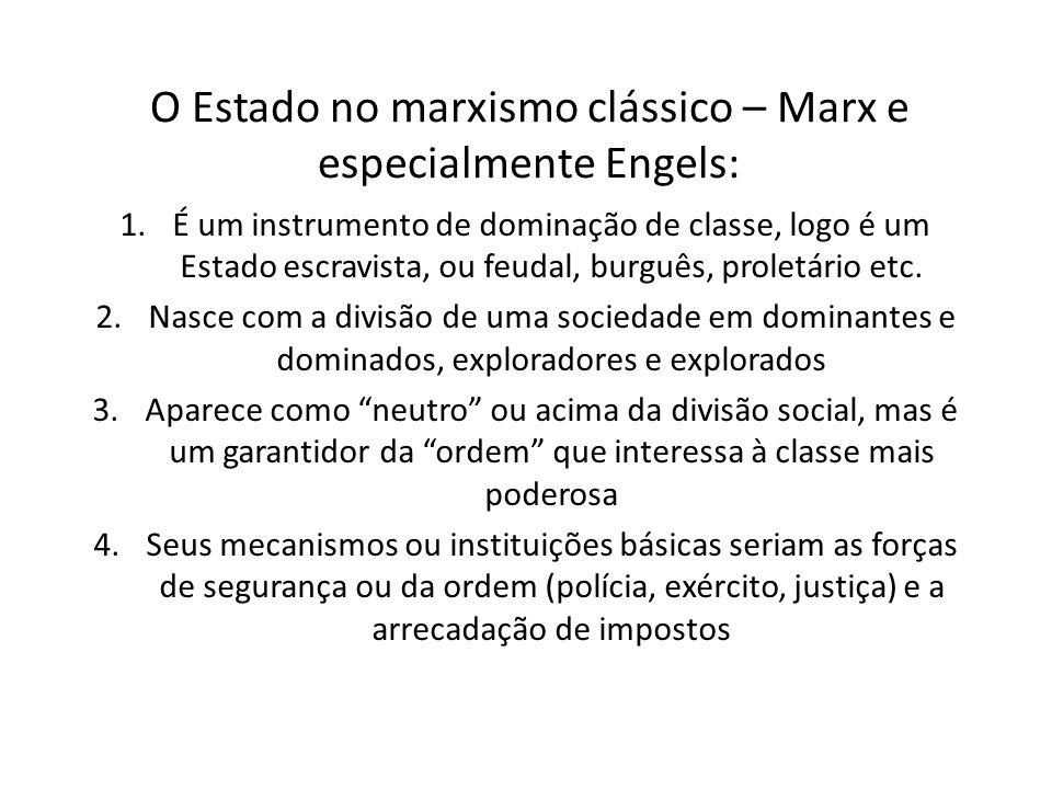 O Estado no marxismo clássico – Marx e especialmente Engels:
