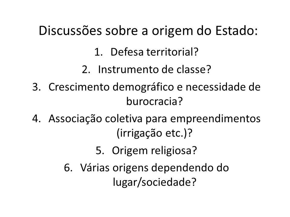 Discussões sobre a origem do Estado: