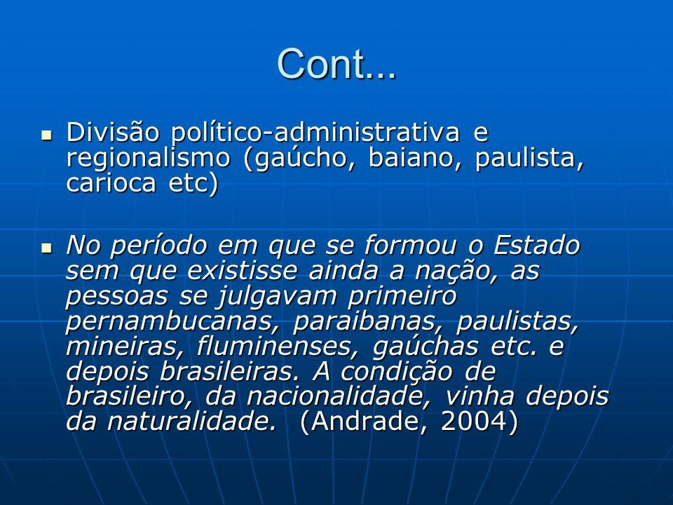 Cont... Divisão político-administrativa e regionalismo (gaúcho, baiano, paulista, carioca etc)