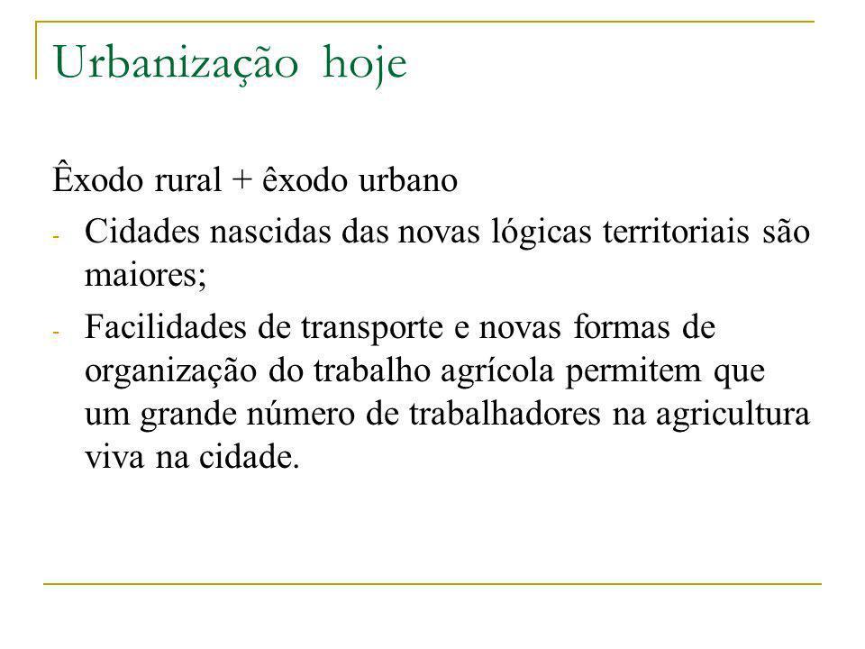 Urbanização hoje Êxodo rural + êxodo urbano