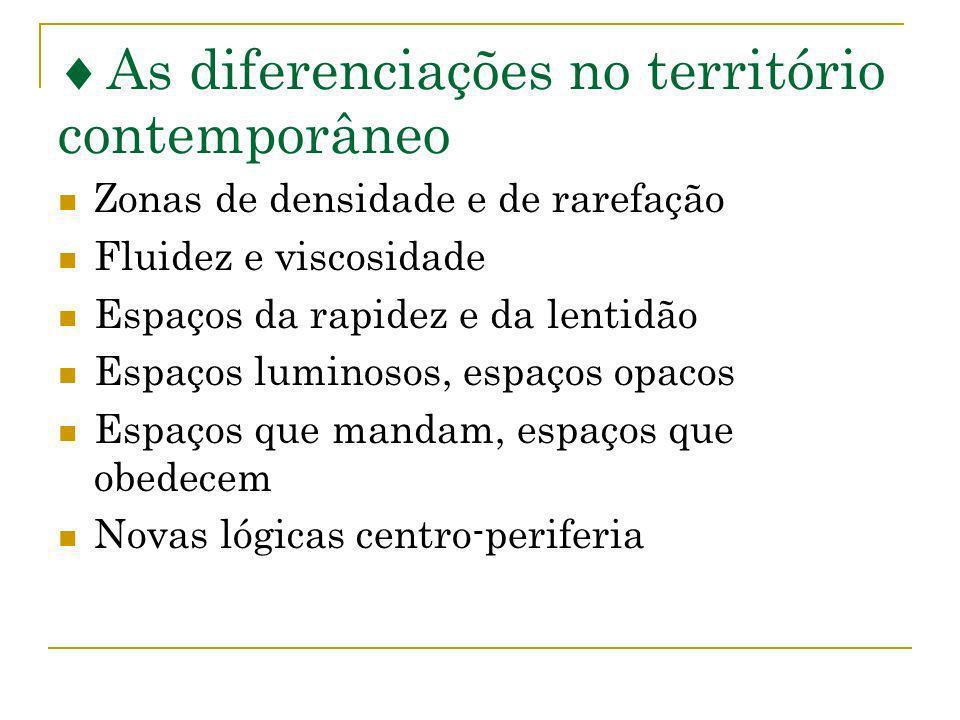 As diferenciações no território contemporâneo