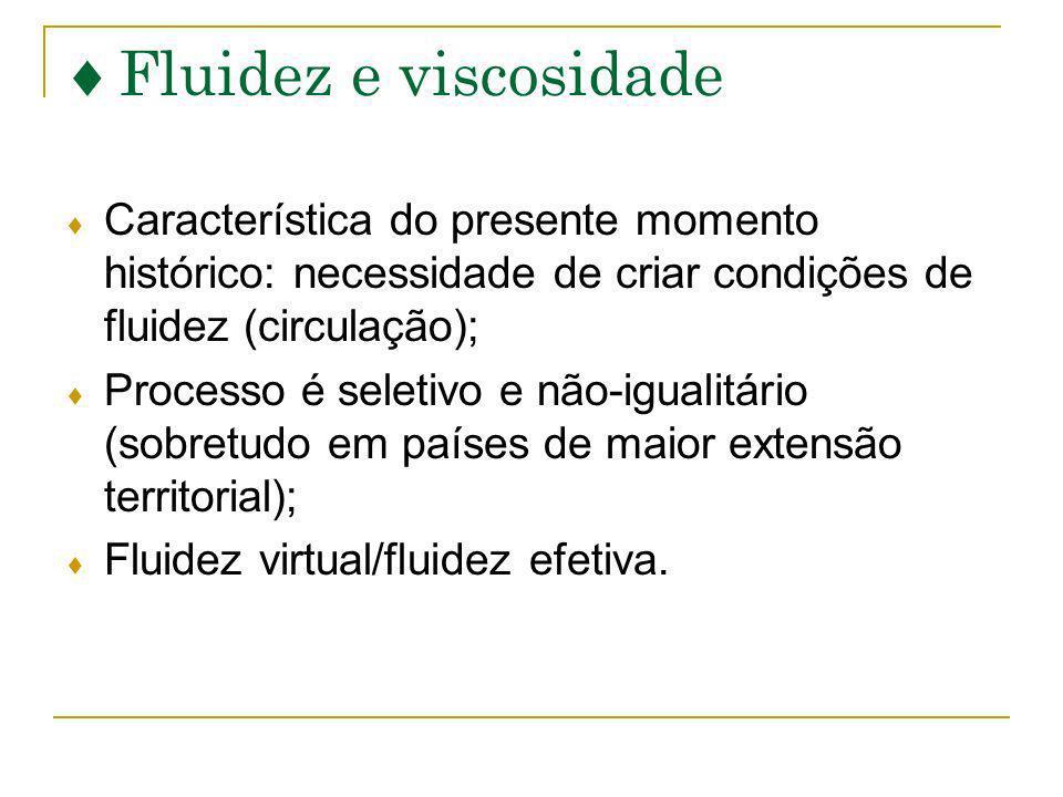 Fluidez e viscosidade Característica do presente momento histórico: necessidade de criar condições de fluidez (circulação);