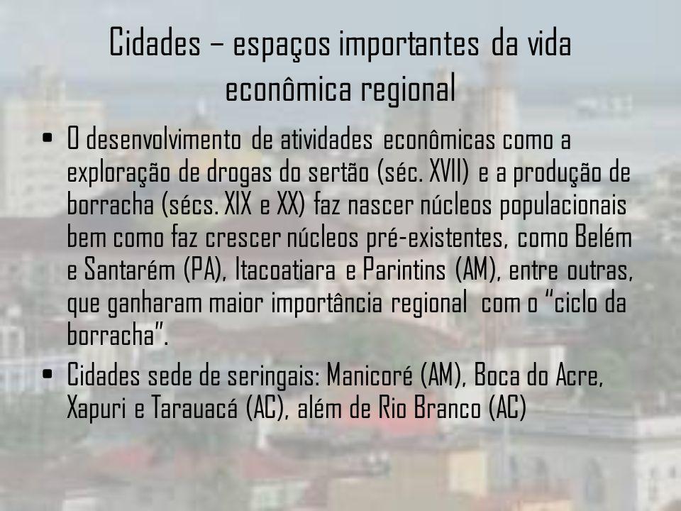 Cidades – espaços importantes da vida econômica regional