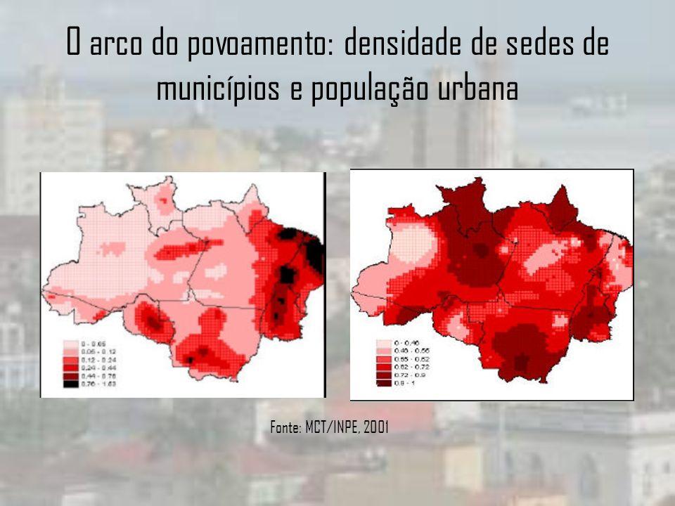 O arco do povoamento: densidade de sedes de municípios e população urbana