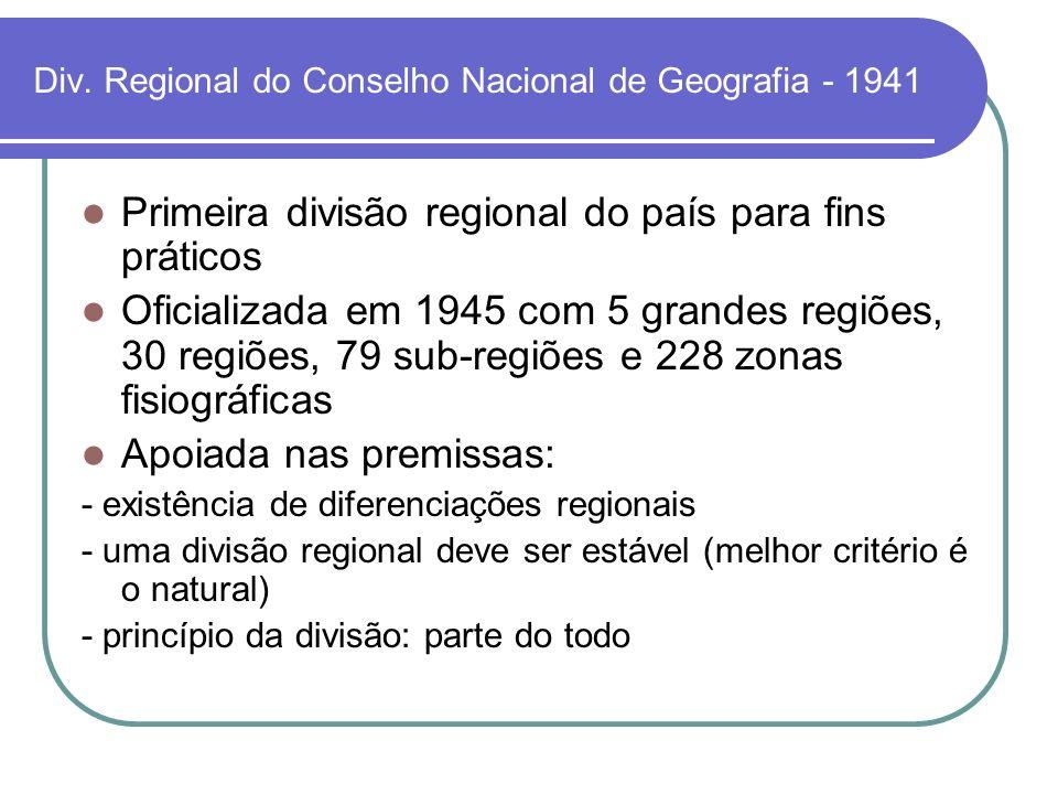 Div. Regional do Conselho Nacional de Geografia - 1941
