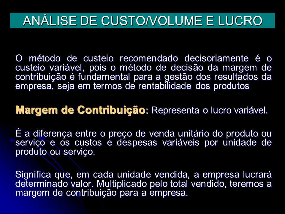 ANÁLISE DE CUSTO/VOLUME E LUCRO