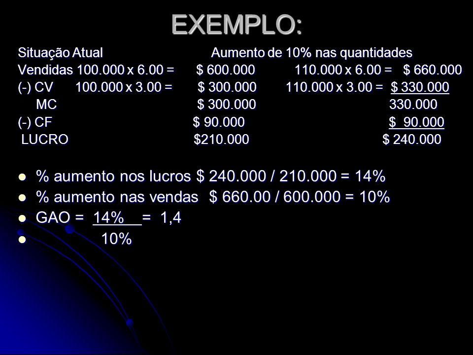 EXEMPLO: % aumento nos lucros $ 240.000 / 210.000 = 14%