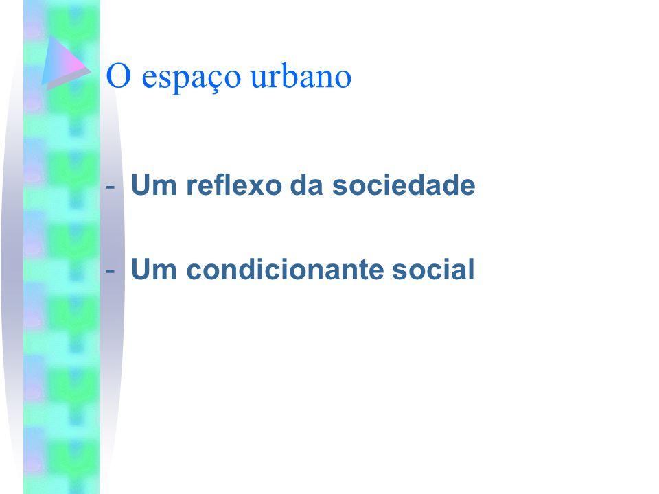 O espaço urbano Um reflexo da sociedade Um condicionante social