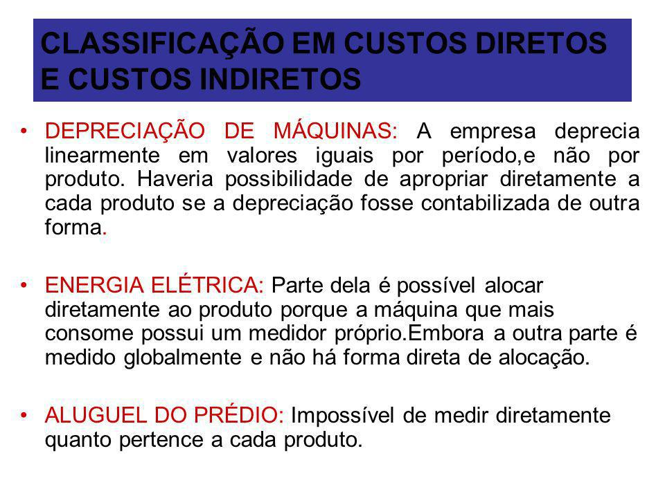 CLASSIFICAÇÃO EM CUSTOS DIRETOS E CUSTOS INDIRETOS