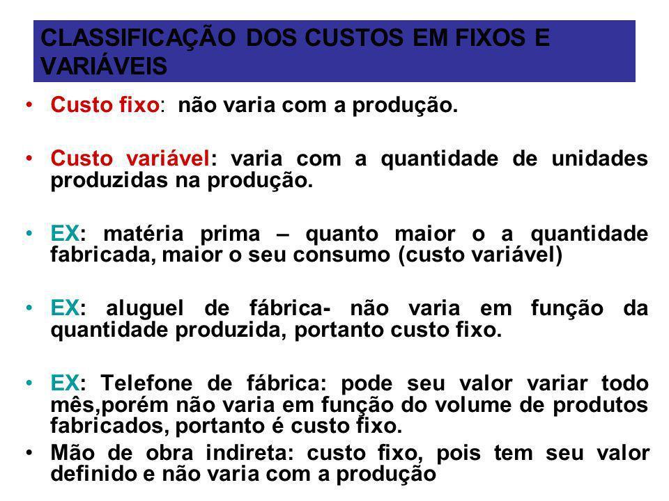 CLASSIFICAÇÃO DOS CUSTOS EM FIXOS E VARIÁVEIS