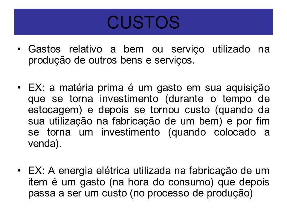 CUSTOS Gastos relativo a bem ou serviço utilizado na produção de outros bens e serviços.
