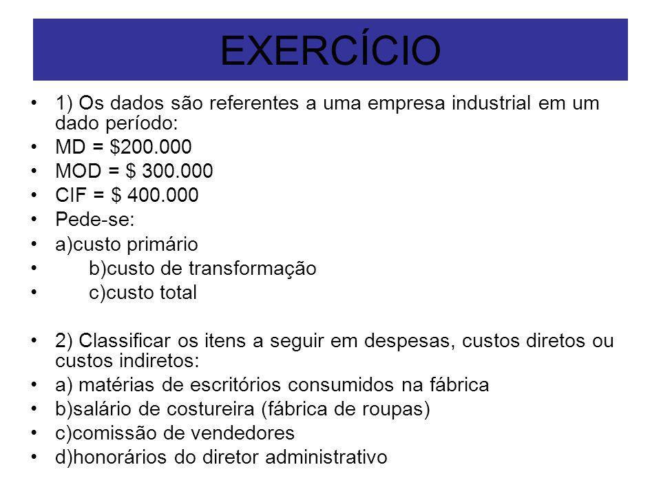 EXERCÍCIO 1) Os dados são referentes a uma empresa industrial em um dado período: MD = $200.000. MOD = $ 300.000.