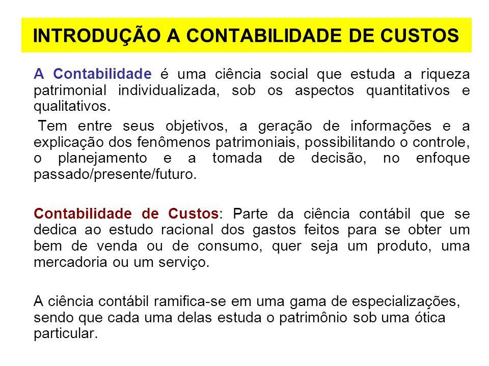 INTRODUÇÃO A CONTABILIDADE DE CUSTOS
