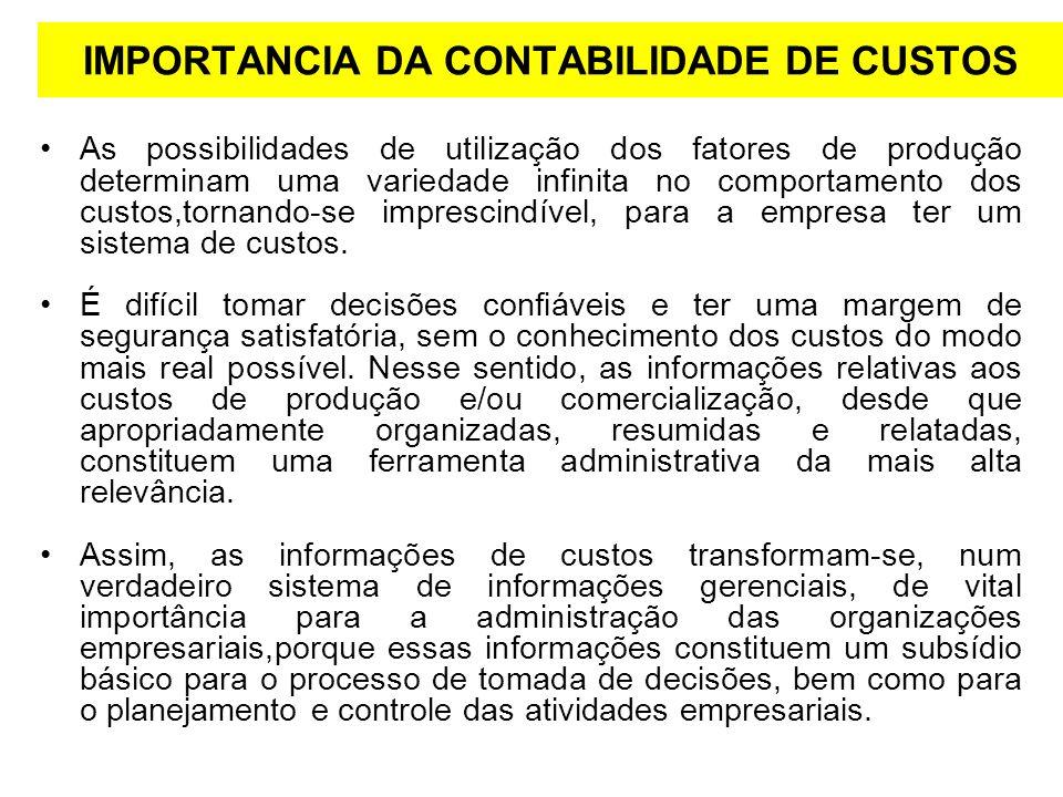 IMPORTANCIA DA CONTABILIDADE DE CUSTOS