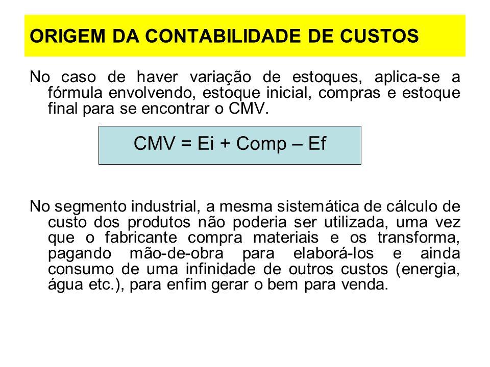 ORIGEM DA CONTABILIDADE DE CUSTOS