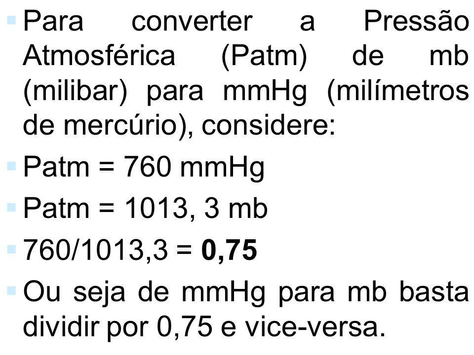 Para converter a Pressão Atmosférica (Patm) de mb (milibar) para mmHg (milímetros de mercúrio), considere: