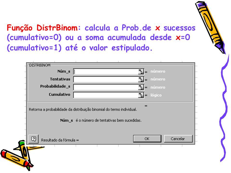 Função DistrBinom: calcula a Prob
