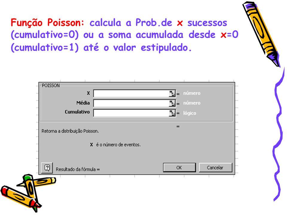Função Poisson: calcula a Prob