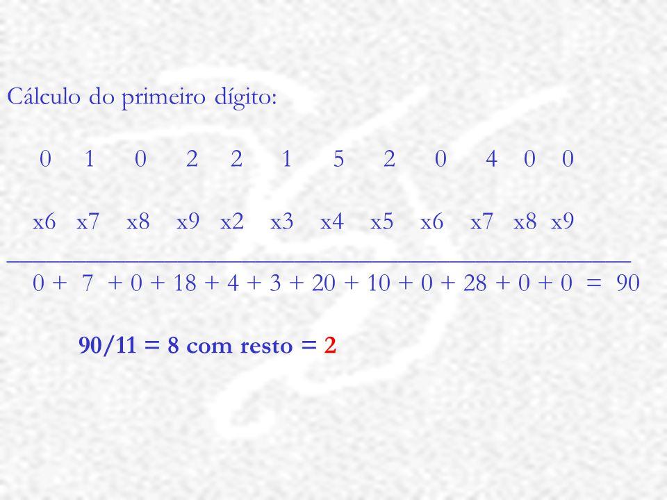 Cálculo do primeiro dígito: